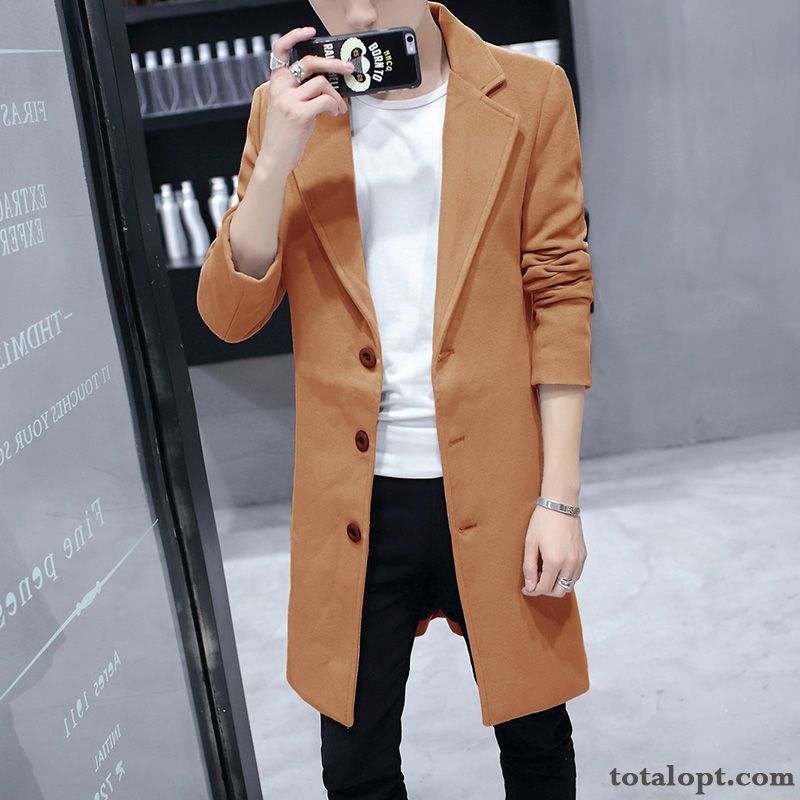 Cheap Autumn Coat Woolen Leisure Long Section New Winter Slim Men's Lapel Overcoat Warm Europe Henna Olive Green