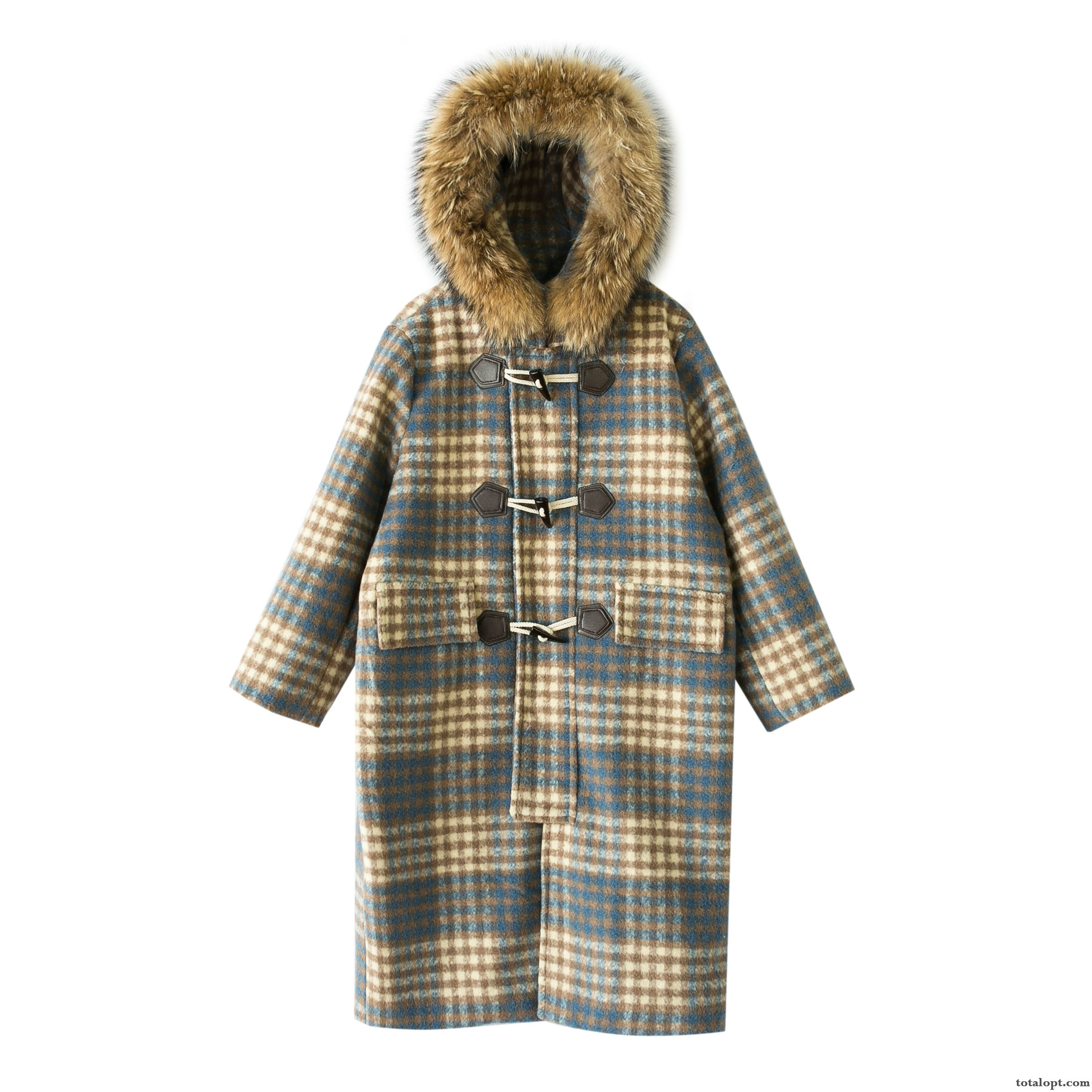 Cheap Big Winter Clothes Checks New Blue Overcoat Coffee White