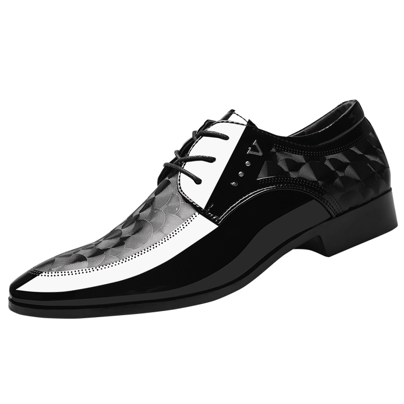Cheap Black Autumn Lace-up Leather Shoes Big Size Winter All-match Business British Wedding Shoes Men's Dress Shoes Peach Blossom All White