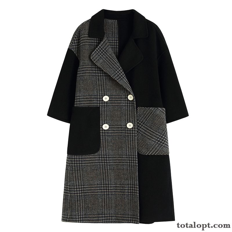 Cheap Black Sided Coat Fashion Overcoat Check Wool New Saddlebrown Mauve