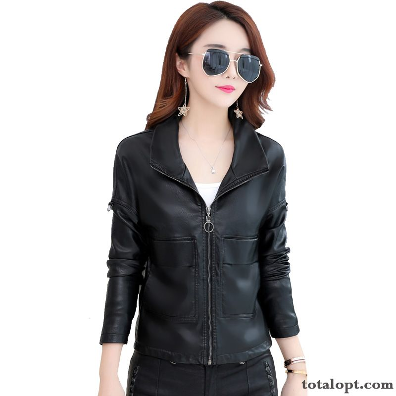 Cheap Black Thin New Leather Coat Genuine Leather Short Sheepskin Suede Loose Jacket Autumn Europe Lady Ultramarine Sandy Beige