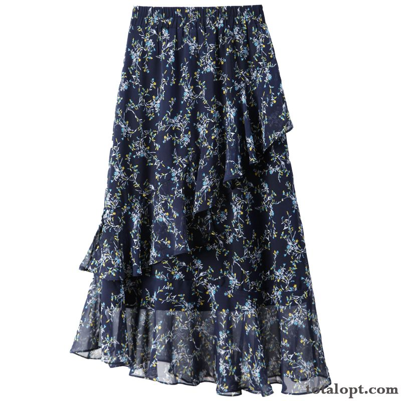 Cheap Blue Summer Dark Floral Women's Fishtail Lotus Leaf Chiffon Long Section High Waist A Letter Irregular Beige Turquoise Blue