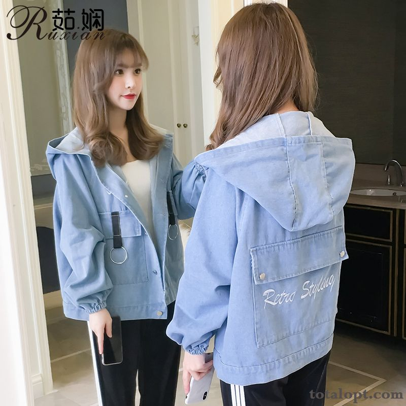 Cheap Blue Trend Short New Skinny Coat Popular Loose Women's Spring Autumn Jacket Pink All Black