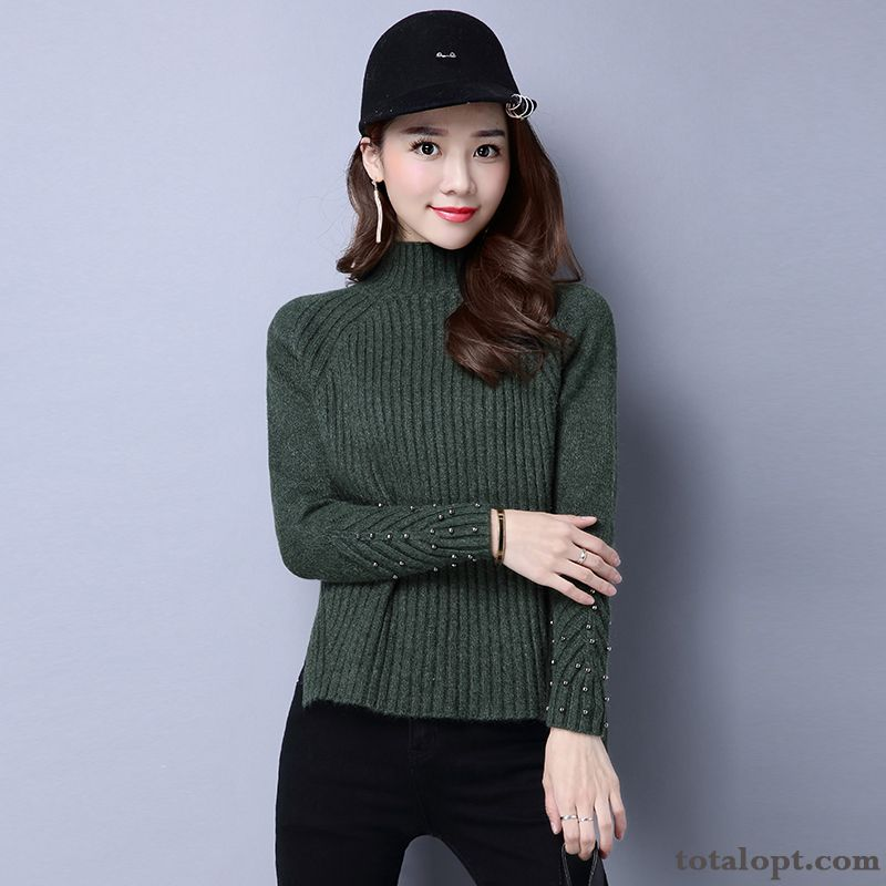 Cheap Bottoming Shirt Sweater Short Trend Knitwear Sweater Winter Autumn Pullovers Women's Thickening Azure Bisque