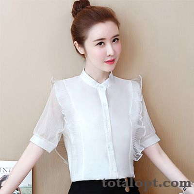 Cheap Coat Shorts New Women's Shirt Chiffon Summer Stand Collar Lace White Salmon Pink Yellowgreen