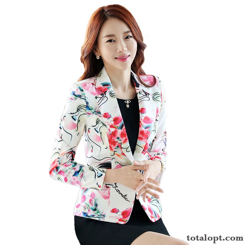 Cheap Coat Slim Suit Flower Europe Lady Leisure Printing All-match Autumn White Short Spring Fashion Navy Blue Lake