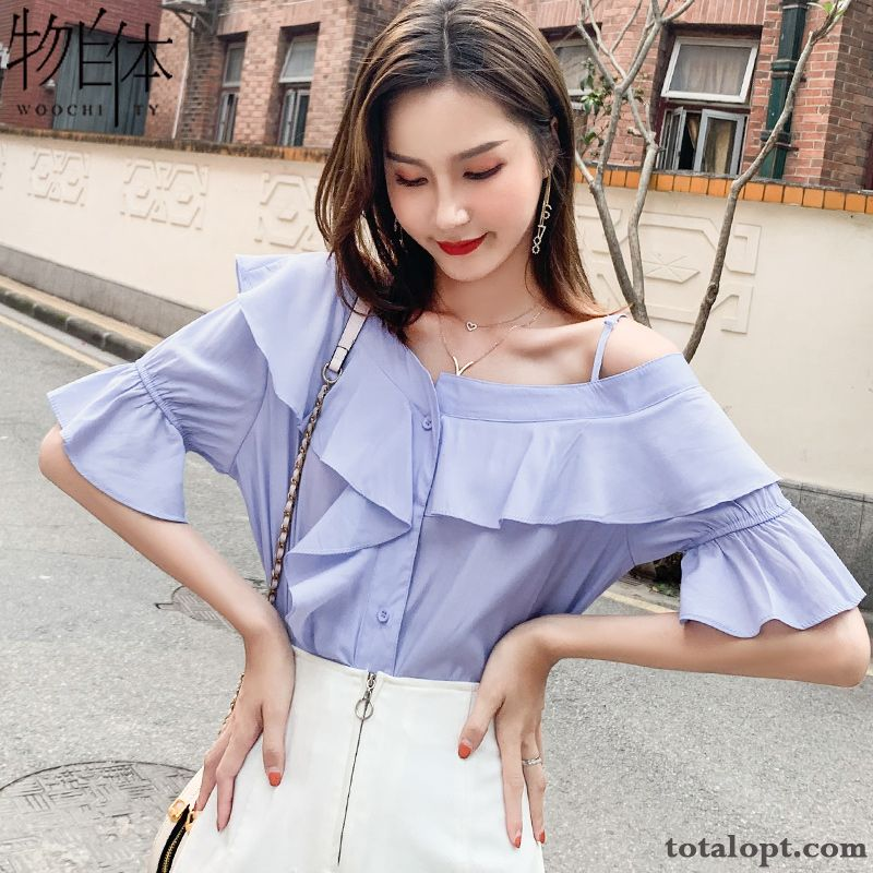 Cheap Coat Sweet Blue Women's New Fashion Shirt Shorts Summer Ultra Chiffon Trend Lake Grey