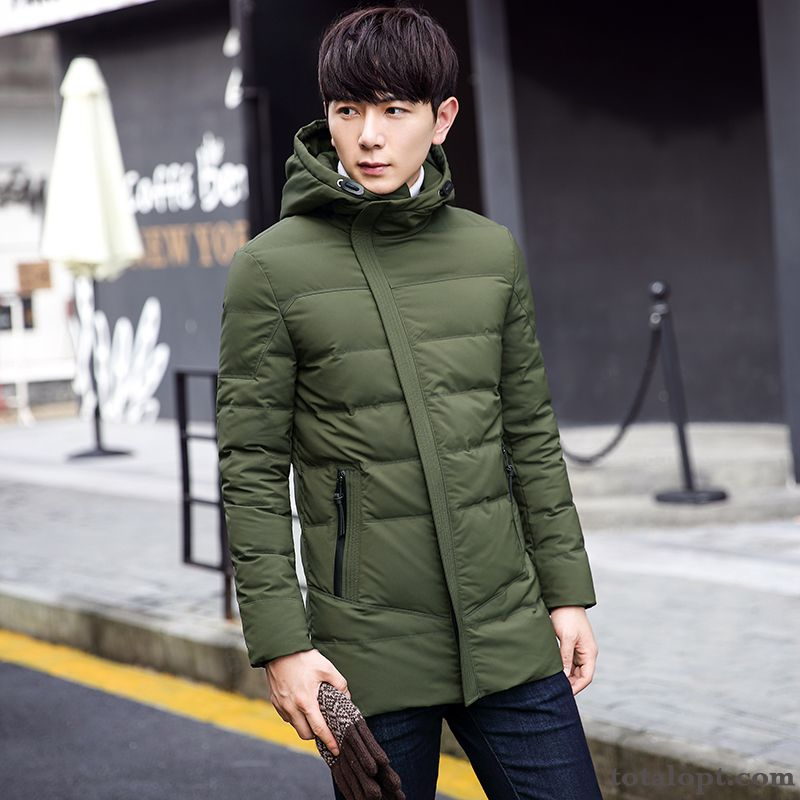 Cheap Coat Thickening Men's Winter Clothes Long Section White Down Jacket New Slim Trend Duck Down Youth Darkgreen Dull Black