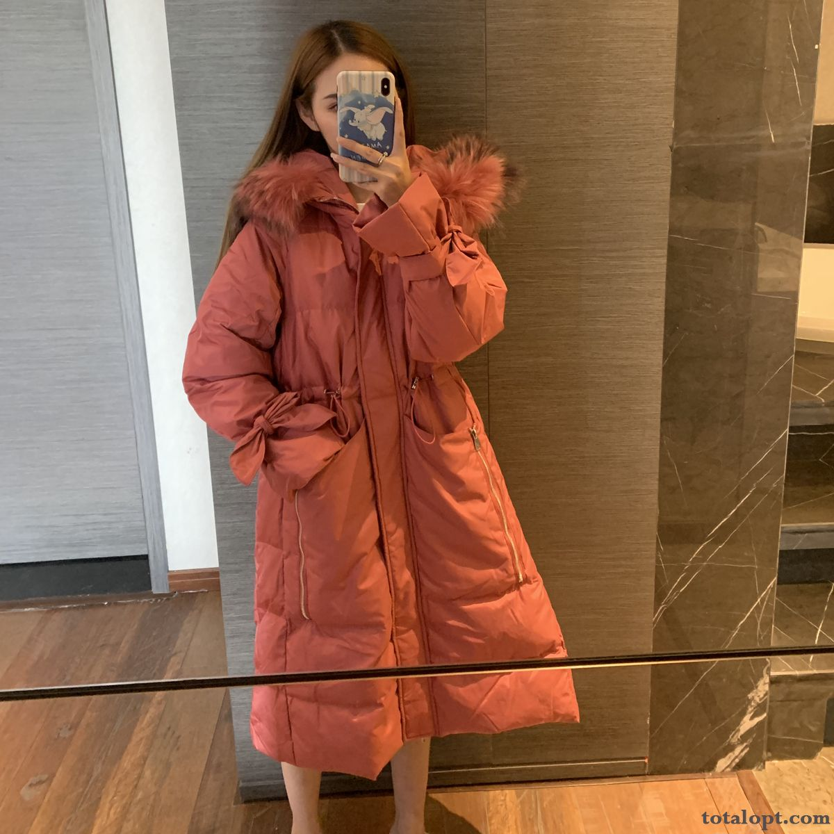 Cheap Down Jacket Big Ultra Fur Collar Pink Raccoon Long Section Red Horn Clearance Sale Women's Hot Style New Trend Salmon Silver