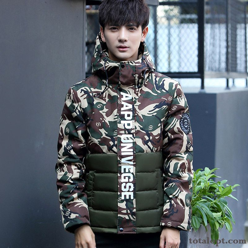 Cheap Down Jacket Short Thickening Men's Slim Europe Camouflage Hooded Trend Coat Student Peachpuff Maroon