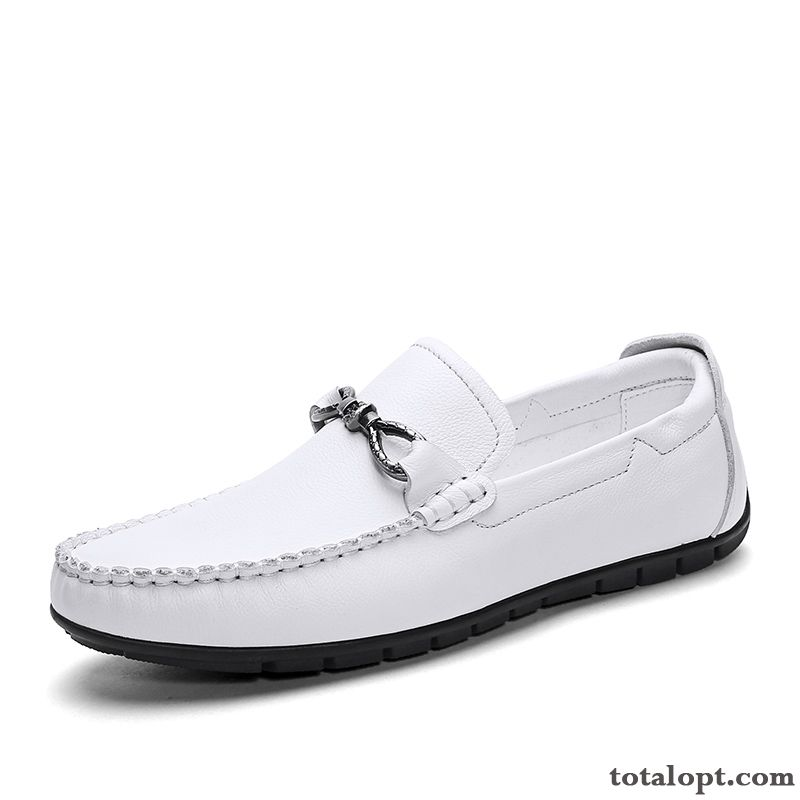 Cheap Driving White Leather Shoes Soft Sole Genuine Leather Summer Men's Loafers Trend Youth Casual Raw White Cream