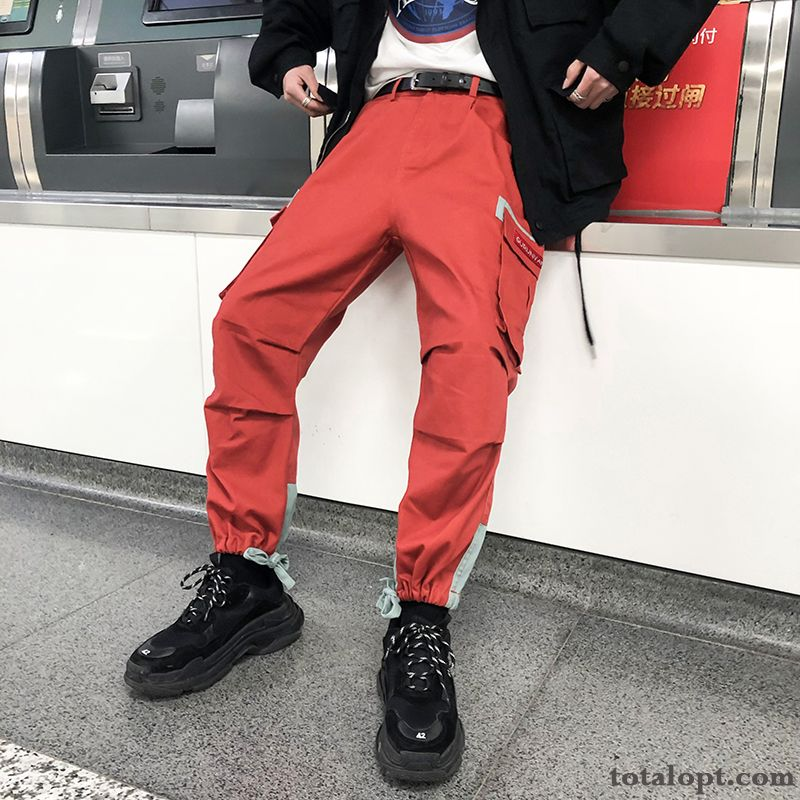 Cheap Europe Trend Men's Loose Skinny Pants Leisure Red Tooling Autumn Ninth Pants New Rainbow Lawngreen