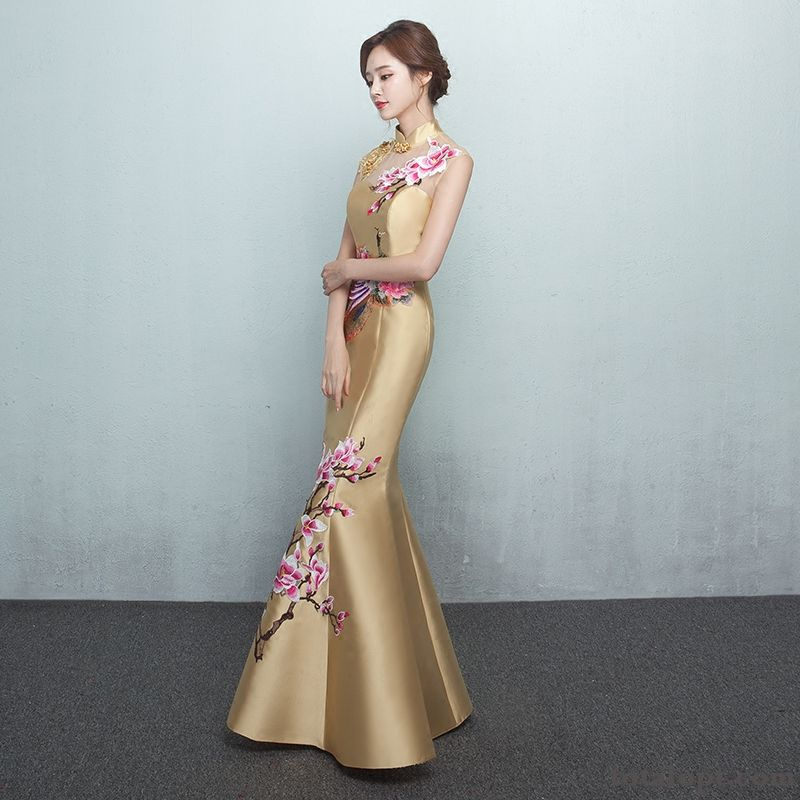 Cheap Fishtail Long Section Dress Winter Autumn Slim Women's New Fashion Pansy Coffee