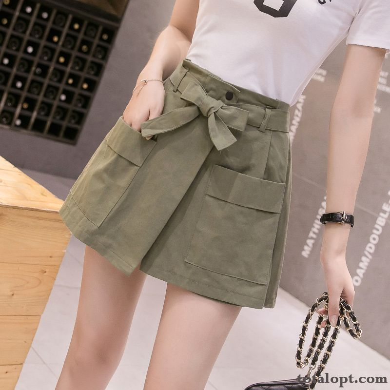 Cheap High Waist Loose Short Skirts Women's Fashion Thin Summer Tooling A Letter Pants New Raw White Cyan