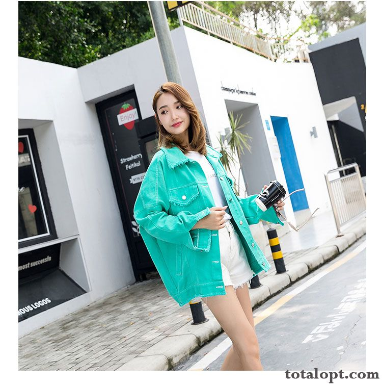 Cheap Jacket Multicolor Fashion Coat Autumn Student Candy Colors Loose Women's Winter All-match Europe New Greenyellow White