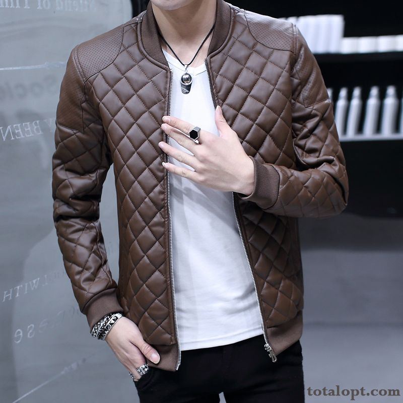 Cheap Jacket Winter New Men's Plus Velvet Trend Coat Leather Youth Leisure Thickening Sienna Cream