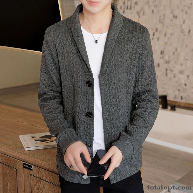 Cheap Knitting Trend Winter Clothes Long Sleeves Cardigan Europe Outwear Pure New Coat Gray Men's Sweater Azure Yellow