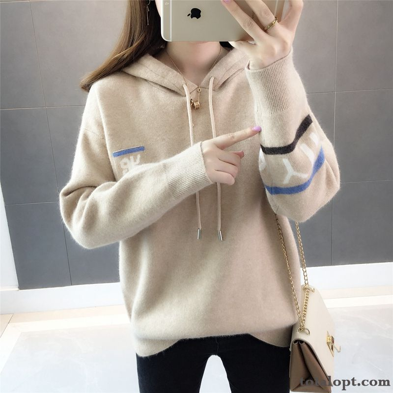 Cheap Knitwear Sweater Leisure Pullovers Coat Student Europe Hoodies New Products Mixed Colors Autumn Hooded Women's Loose Sky Blue Brown