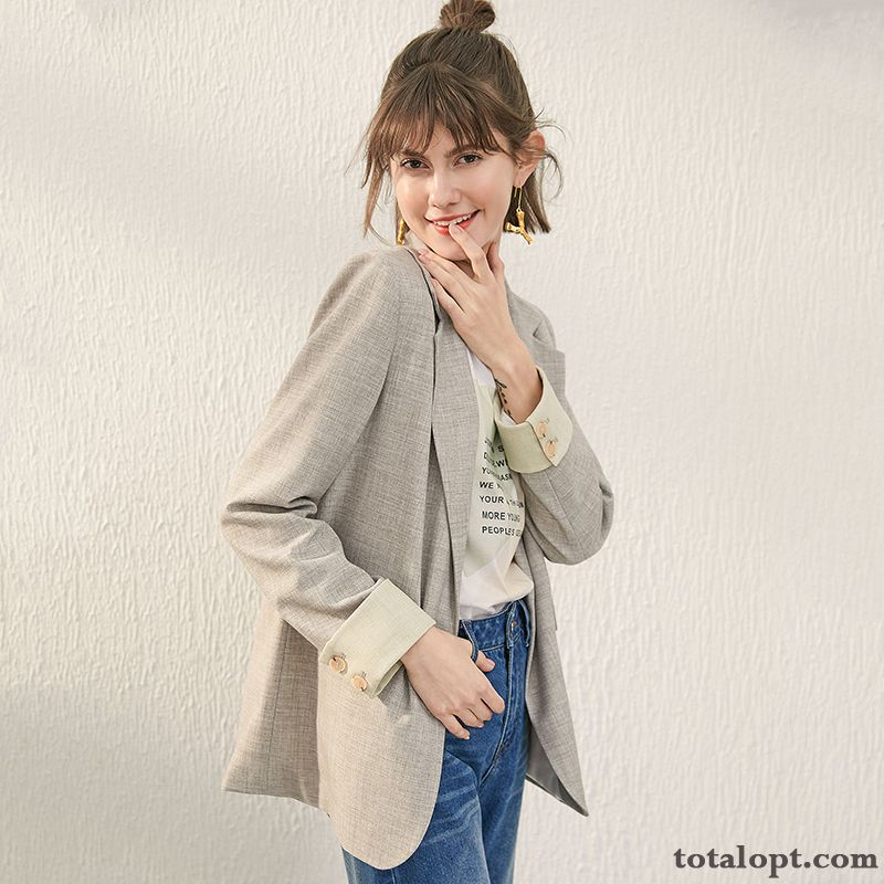 Cheap Lady Gray Coat Suit Europe Blazer England Skinny Autumn New Iridescent Palegreen