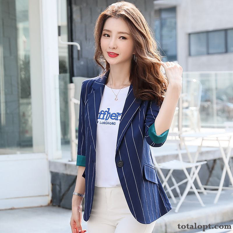 Cheap Lady Stripes Slim Blazer Coat Women's Europe Temperament Leisure White Spring Blue Suit New Pure White Cyan