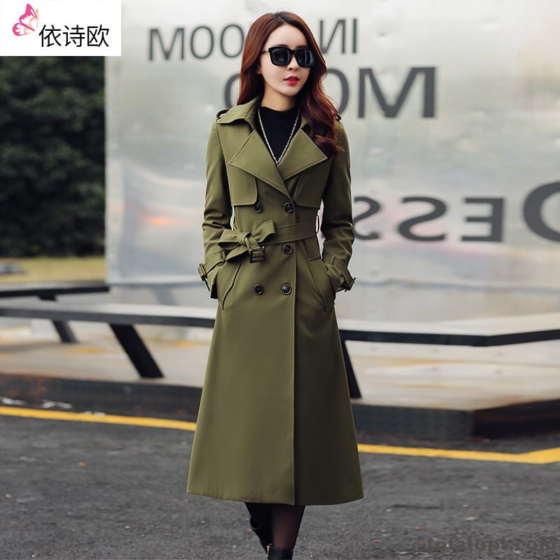 Cheap Lady Women's New Europe Long Section Coat Temperament Slim Autumn Spring Rosybrown Lemon