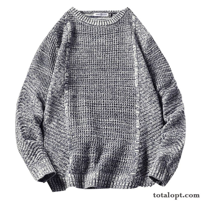Cheap Large Size Europe Gray Trend Student Autumn Sweater Knitting Loose Winter Men's Pullovers Round Neck Salmon Pink Snow-white