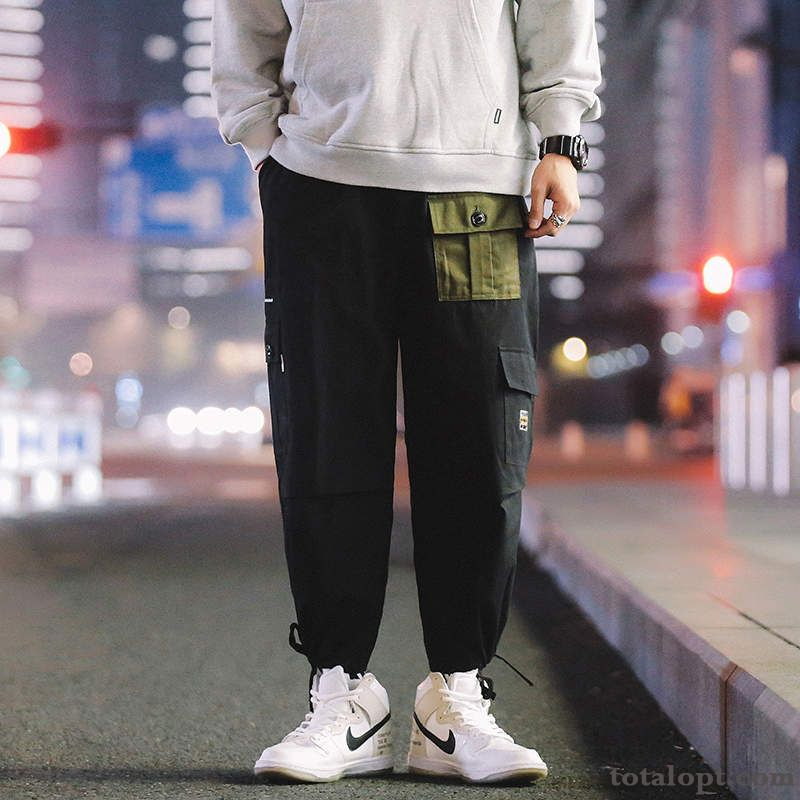 Cheap Leisure Loose Pants Ninth Pants Autumn Men's Black Personality Trend Tooling New Dark Red Coffee