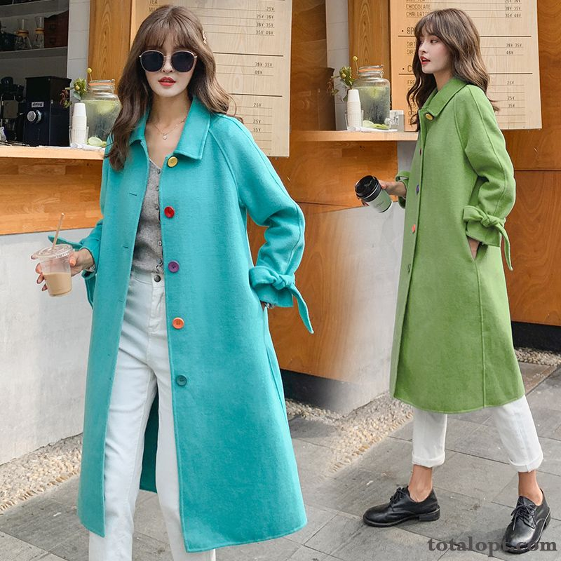 Cheap Long Section Personality Woolen All-match Warm Coat Comfortable Thin Blue Big Simple Loose Tomato Navy Blue