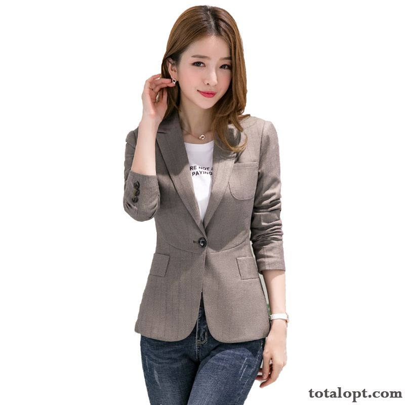 Cheap Long Sleeves Leisure Women's Short All-match Coat Thin New Retro Suit Europe Blazer Slim Rosybrown All White