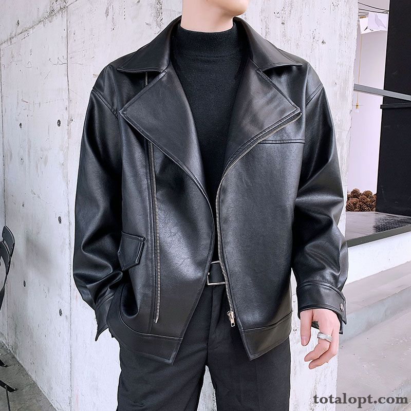 Cheap Loose Leather Men's Jacket Europe Autumn New Lapel Trend Coat Black Spring Tea Green Plum