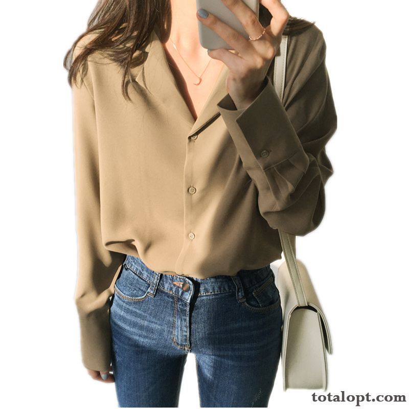 Cheap Loose Retro Coat Shirt New Spring Suit White Long Sleeves Women's V-neck Peacock Blue Navy