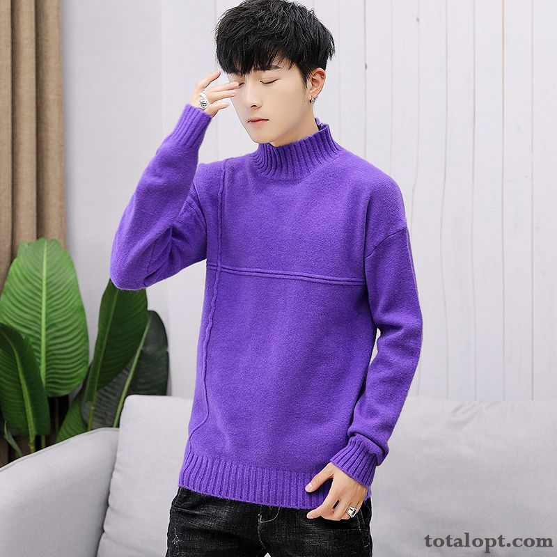 Cheap Men's Knitwear Sweater Long Sleeves New Autumn Pullovers Stand Collar Purple Slim Europe Pure Trend Tea Green Maize