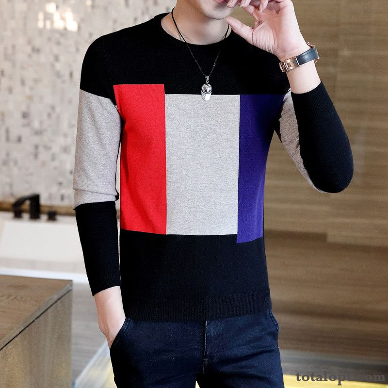 Cheap New Long Sleeves Men's Knitting Youth Sweater Round Neck Europe Bottoming Shirt Trend Black Winter Slim Autumn Raw White Purple