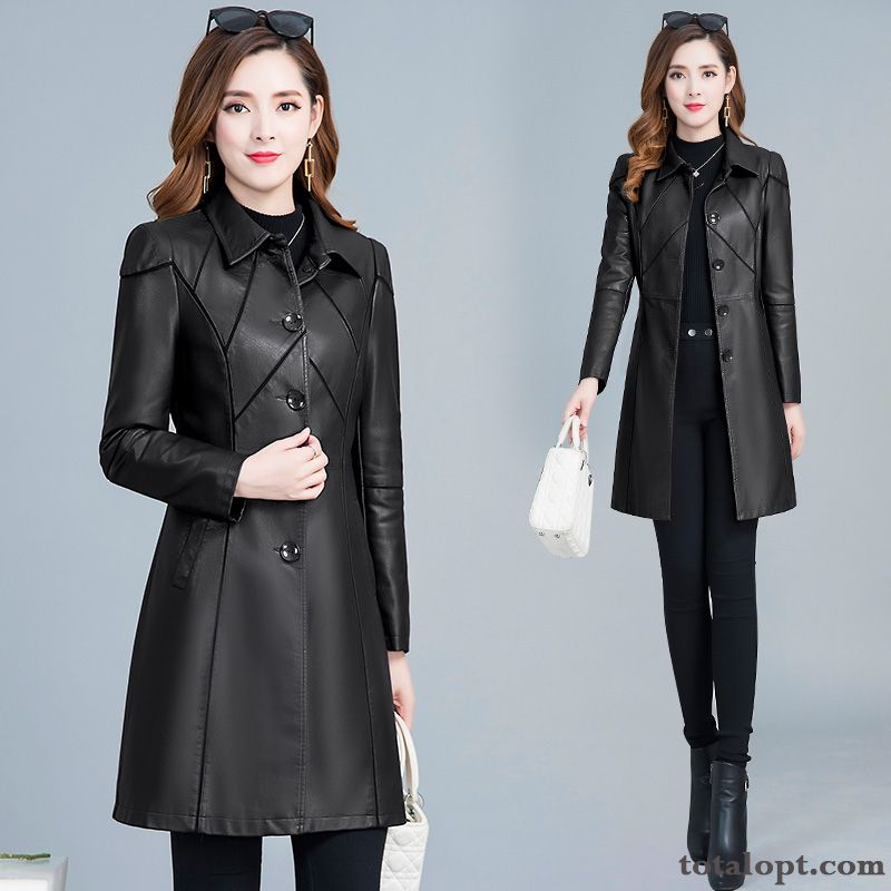 Cheap New Thin Slim Pu Autumn Coat Women's Large Size Spring Black Long Section Lady Europe Jacket Leather Smoky Gray Carbon Black