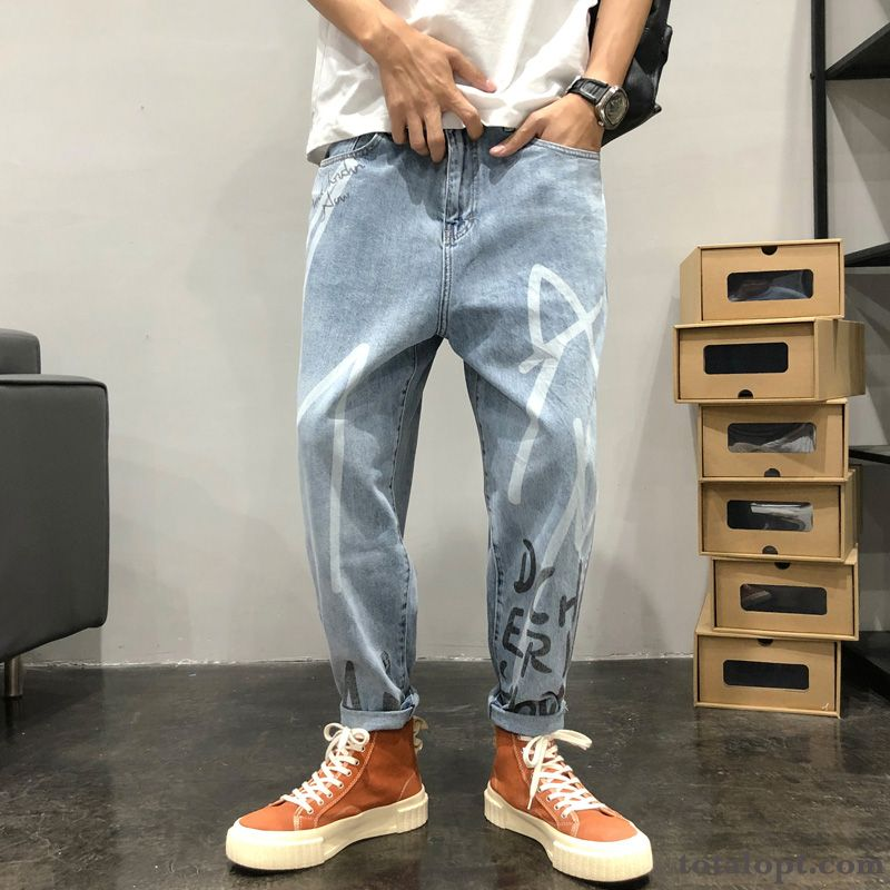 Cheap Ninth Pants Spring Straight Printing Jeans Men's Summer Loose Flower All-match Trend Blue Europe Leisure All White Turquoise