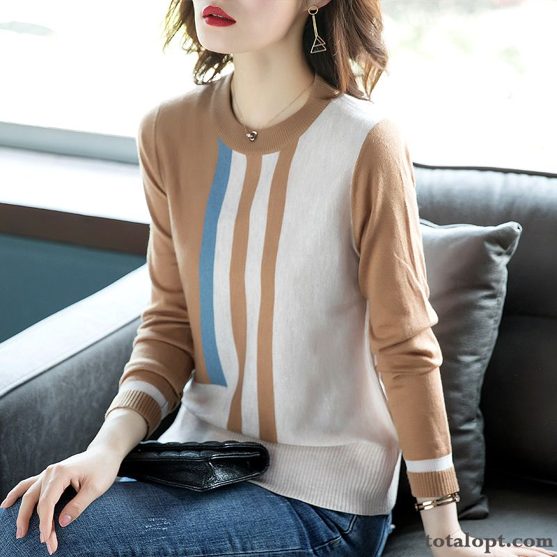 Cheap Outwear Long Sleeves Sweater Women's Autumn Spring Skinny Bottoming Shirt New Stripes Knitwear Sweater Thin Retro Sky Blue Pink