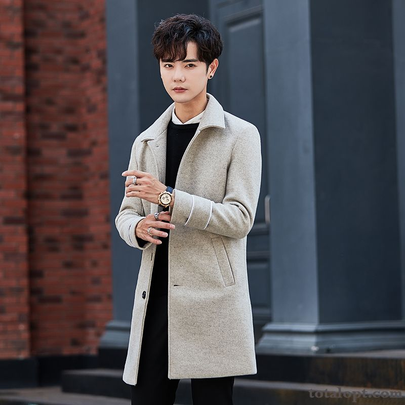 Cheap Overcoat Long Section Winter Leisure New Woolen Autumn Men's Trend Europe Gray Greenyellow Navy Blue