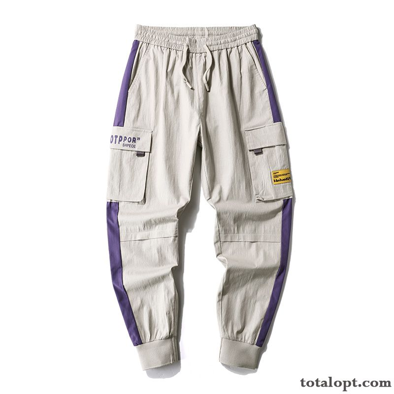 Cheap Pants Purple Leisure Men's Tooling Straight Loose Peachpuff Lavender