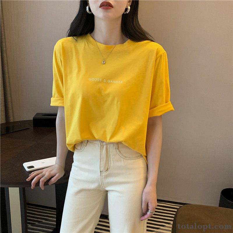 Cheap Red New Europe Shorts Loose Trend T-shirt White Pure Half Sleeve Coat Women's Summer Maize Wheat