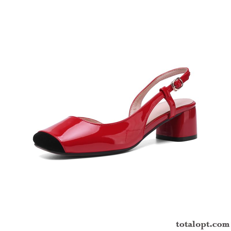 Cheap Red Women Genuine Leather New Spell Color Summer Patent Leather Skyblue Cherry
