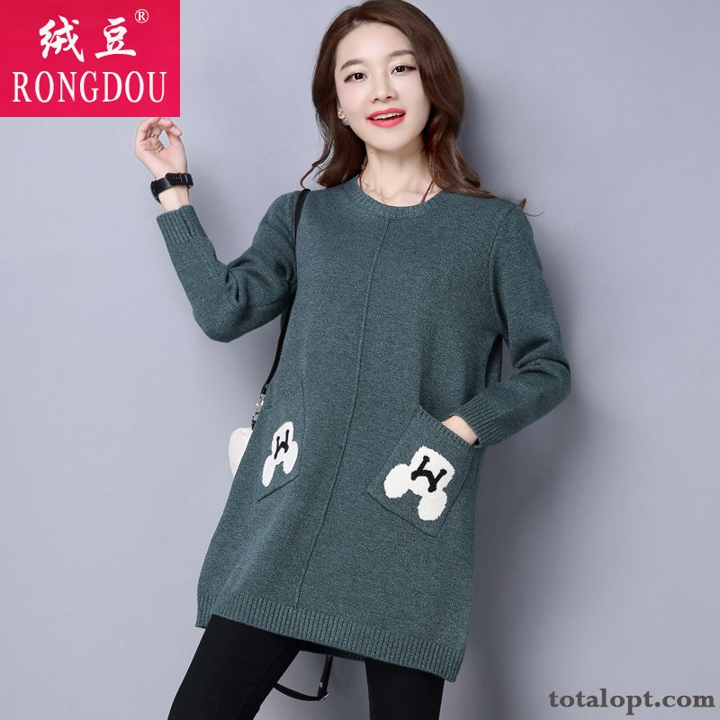 Cheap Round Neck Autumn Women's Bottoming Shirt Long Section Europe Loose Pullovers Knitting Sweater Thick Leisure New Winter Orange Rose