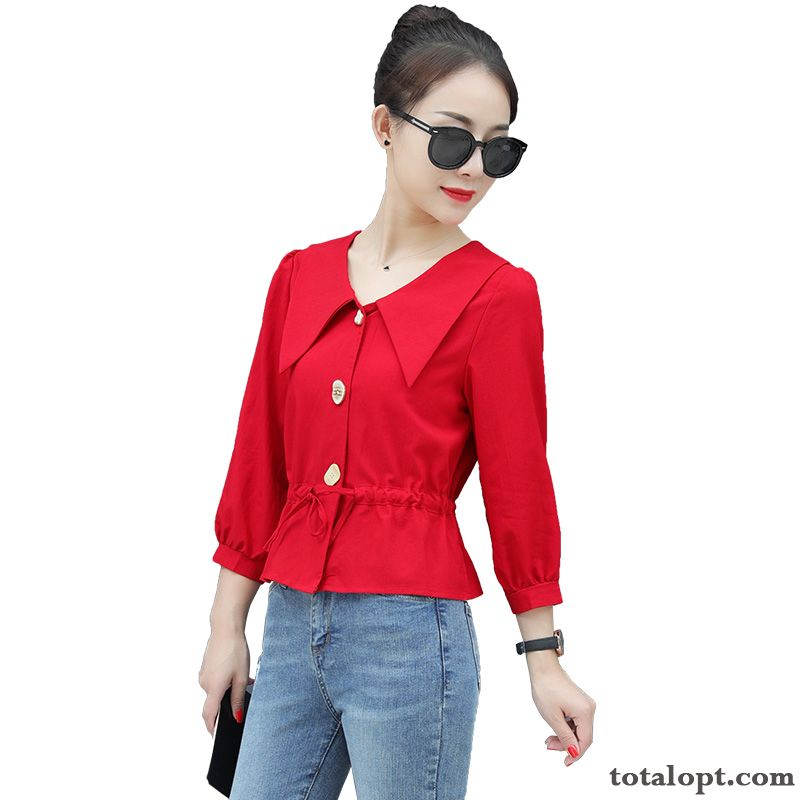 Cheap Shirt Autumn Coat Women's Red Thin New Design Oyster White Seagreen