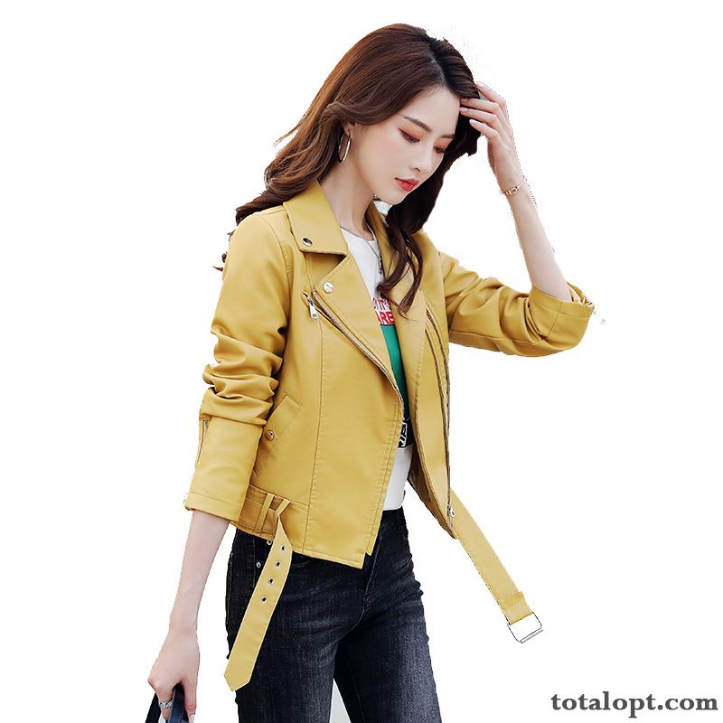 Cheap Short Autumn Locomotive Coat Pu Trend New Women's Leather All-match Jacket Leisure Spring Deep Yellow Wheat