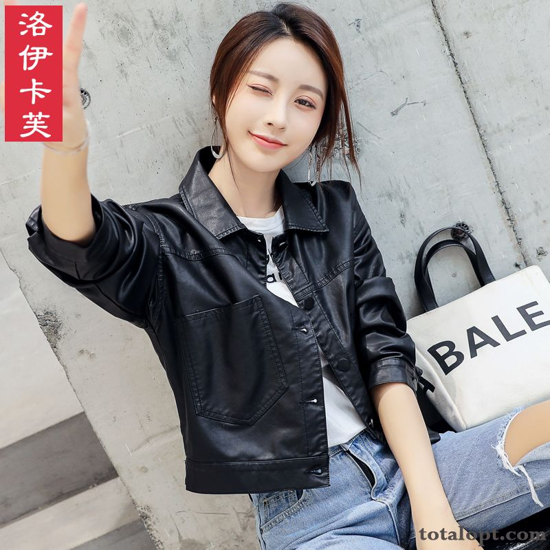 Cheap Short Europe Loose Coat Leisure Lady New Spring High Waist Leather Black Jacket Thin Autumn Trend Ultramarine Carbon Black