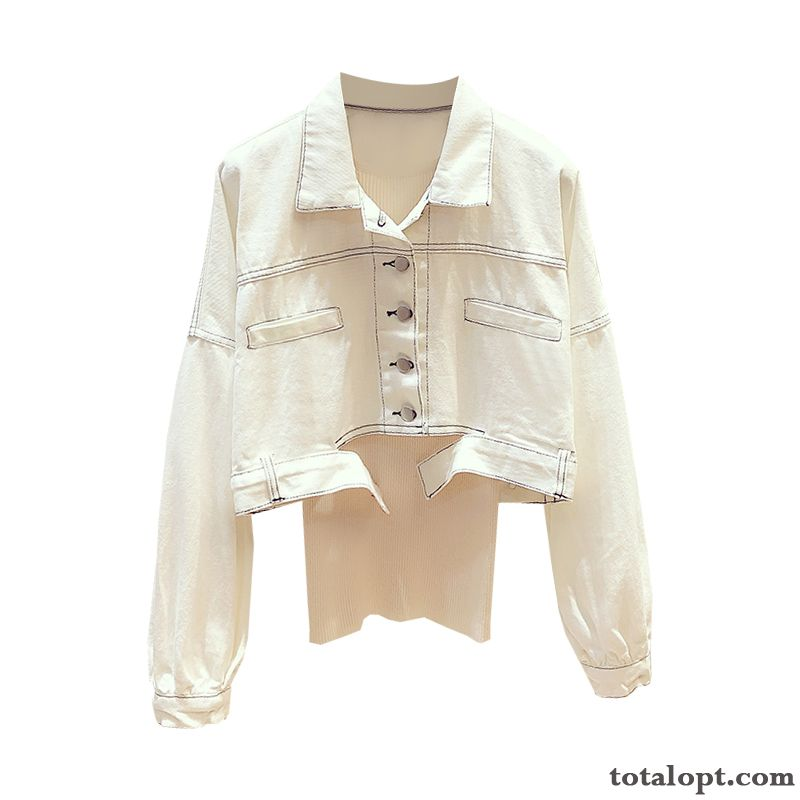 Cheap Single Row Button White High Waist Women's Leisure Europe Long Sleeves Tooling Autumn Coat Short New Jacket Peachpuff Pitch-dark