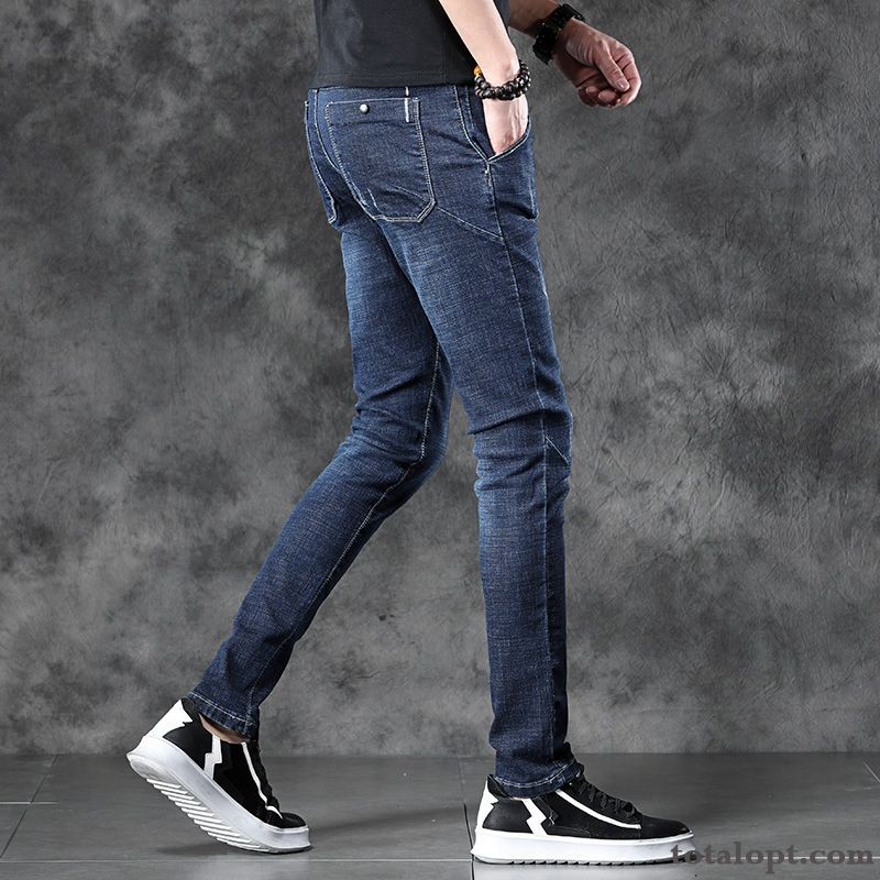 Cheap Skinny Jeans Summer Slim Trend Elasticity Europe Youth Men's Black Trousers Blue Yellow Green Sienna