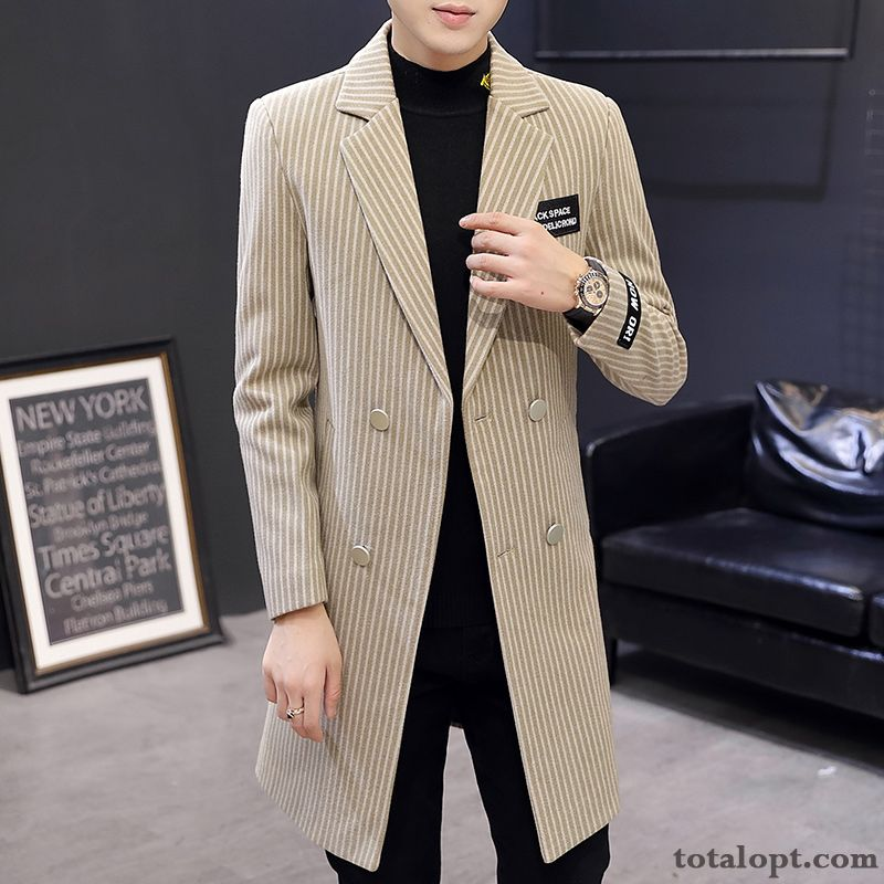 Cheap Slim Men's Coat Europe Leisure Stripes Trend Long Section Winter Autumn Overcoat Youth Wheat Orange