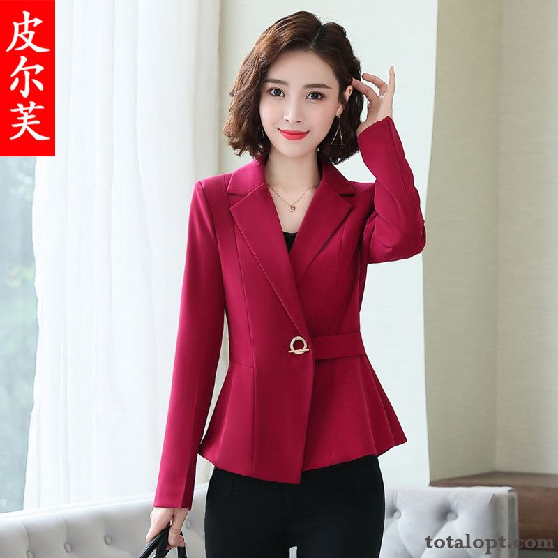 Cheap Slim Professional Red Spring Coat Long Sleeves Autumn Leisure Temperament New Lady Shorts Sandy Beige Garnet