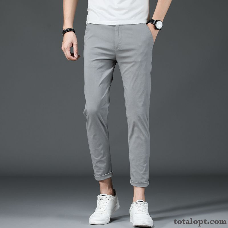 Cheap Slim Skinny Spring Checks Summer Trousers Pants All-match Ninth Pants Leisure Men's Gray Henna Baby Pink