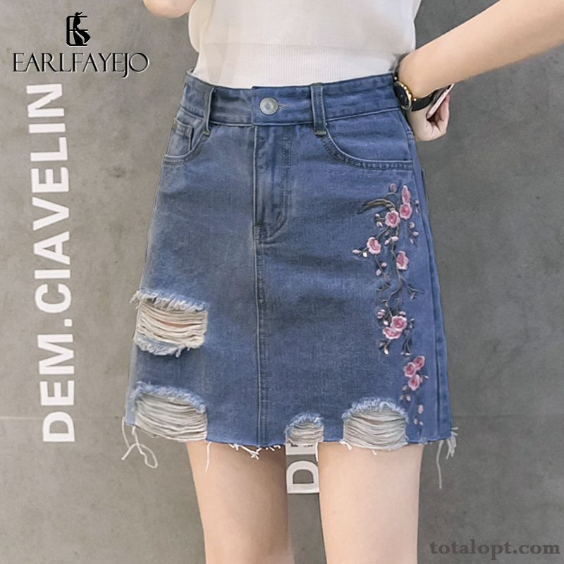 Cheap Spring Embroidery Short Skirts New Summer Dark Women's A Letter Blue Blue Green Iridescent